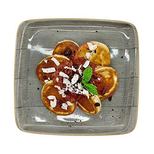 Season Family Fertiggericht Pancakes mit Rhabarberkompott als Fitness Essen I Fertiggerichte für Mikrowelle oder Pfanne unter Schutzgasatmosphäre verpackt I Inhalt 450 g
