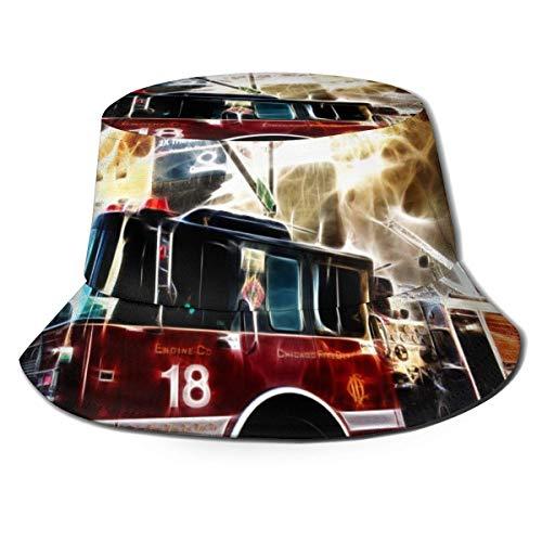Sombrero de Cubo para Hombre, Mujer, Sombrero de Cubo, Gorra de Pescador, Visera de ala Ancha Plegable para Exteriores, Sombrero para el Sol, camión de Bomberos