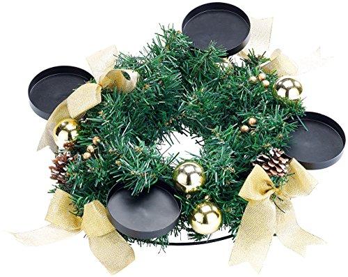 Britesta Advent Deko Kranz: Adventskranz mit goldfarbenem Schmuck, Ø 30 cm (Weihnachtsschmuck Tischkranz)