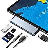 USB C Hub for iPad Pro 2020 iPad Air 4, 6-in-1 USB C Adapter, USB3.0, SD/TF Card Reader, 3.5mm Headphone Jack, PD, 4K HDMI, iPad Pro 2018-2020 iPad Air 2020 11'/12.9' Accessories
