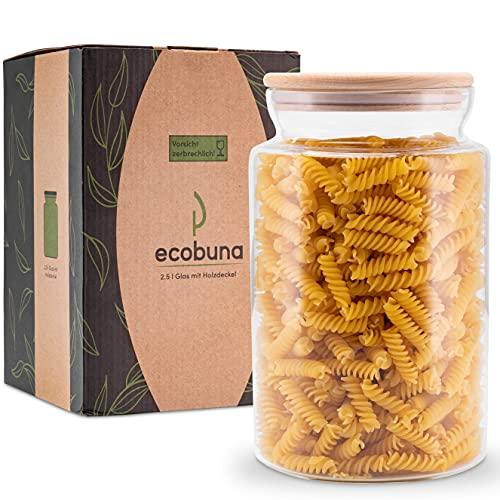 ECOBUNA Tarro de cristal de 2,5 litros con tapa de madera – Tarro de almacenamiento – Vaso decorativo – Portavelas – Vaso de galletas – Lata de café – Recipiente de cristal con tapa