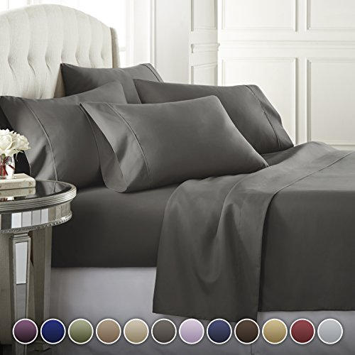 Danjor Linens 6 Piece Hotel Luxury Soft 1800 Series Premium Bed Sheets Set, Deep Pockets, Hypoallergenic, Wrinkle & Fade Resistant Bedding Set(Queen, Gray)