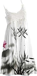 JUTOO Damen Vintage Boho Kleid, Sommer Party Kleid Lace ärmellose Strand gedruckt Kleid Knielang Kleid
