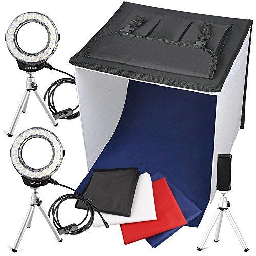 FOSITAN 撮影ボックス 撮影ブース 写真撮影キット 40*40*40cm 2*リングLEDライト搭載 カメラスタンド 2*...