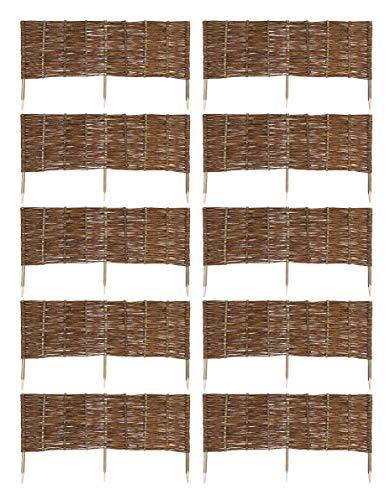 MC.Sammler 10 x Beeteinfassung aus Weide 16 Größen Weidenzaun Rasenkante Beetbegrenzung Steckzaun imprägniert mit Buchepflöcken für leichtes Einsetzen Länge: 120 cm Höhe: 40 cm