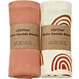LifeTree Baby Swaddle Blankets, Baby Muslin Swaddling Neutral Receiving Blanket for Boys & Girls, 70% Bamboo & 30% Cotton, Large 47 x 47 inches Solid Color / Rainbow Print