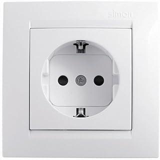 Simon F1590443030 Enchufe con toma de tierra serie 15 blanco