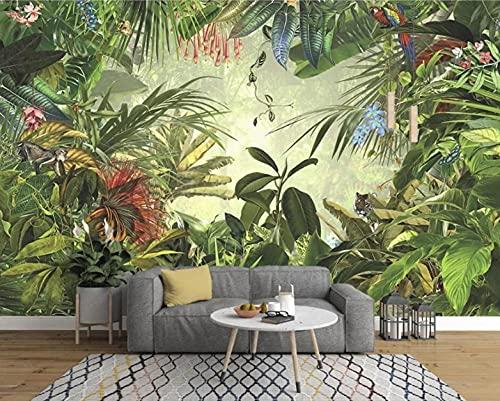 Mural Papel Pintado Plantas Verdes De La Selva Tropical Papel Tapiz Fotográfico 3D Decoración Del Hogar Papeles De Pared Para Pegatinas De Pared Carteles Artísticos De Pared 250cmx175cm