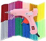 Heißklebepistole, 20W Klebepistole mit 60 Glitter Klebesticks Set (100 mm * 7 mm)15 Farben für Schule DIY Kunst, Handwerk & schnelle Reparaturen in Haus