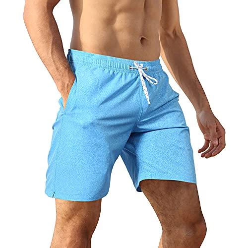 APTRO Herren Badehose Schwimmhose Board Shorts Kurz Schnelltrocknend Beach Strand Shorts mit Mesh-Futter Jeans Blau MK128L