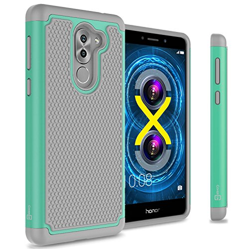 CoverON Heavy Duty Hybrid HexaGuard Series for Huawei Honor 6X / Mate 9 Lite Case, Teal on Gray
