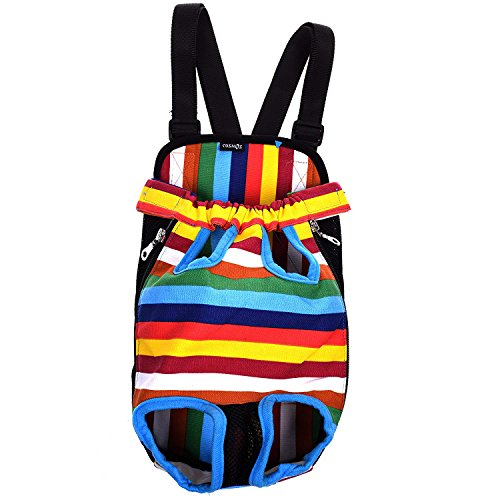 Cosmos Medium Size Colorful Strip Pattern Pet Dog Legs Out Front Carrier Bag