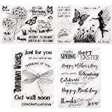 4 Piezas Tarjeta de Sello de Silicona Transparente con Patrones de Flor Mariposa Liblula Palabras de Felicitacin para Creacin de lbum de Recortes Scrapbooking Tarjetas