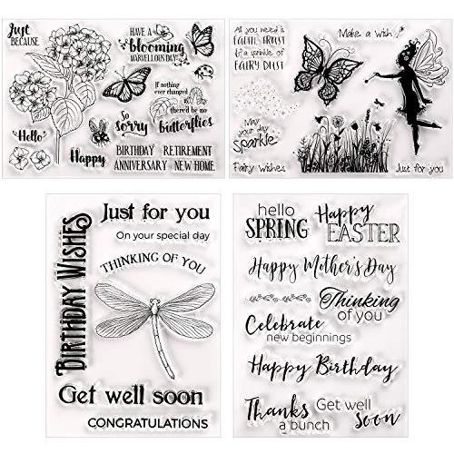 4 Piezas Tarjeta de Sello de Silicona Transparente con Patrones de Flor Mariposa Libélula Palabras de Felicitación para Creación de Álbum de Recortes Scrapbooking Tarjetas