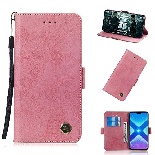 Honor 8X Hülle, Premium Leder Handyhülle Flip Schutzhülle für Huawei Honor 8X / Honor View 10 Lite Tasche // (Pink)