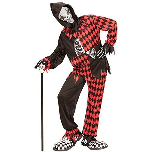 Traje Halloween Arlequín - 123-128 cm, 5-7 años | Disfraz Infantil Payaso Asesino | Traje Clown Malo | Disfraz Niño Bufón Malvado