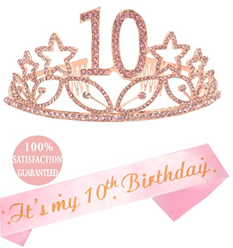 10th Birthday Gifts for Girl, Birthday Tiara and Sash Pink, Happy 10th Birthday Party Supplies, 10 & Fabulous Glitter Satin Sash and Crystal Tiara Birthday Crown for 10th Birthday Party Supplies