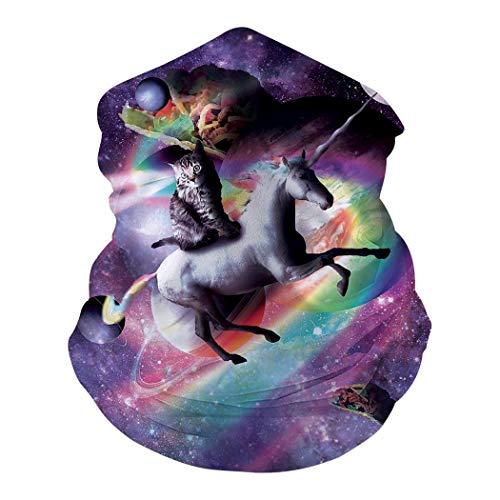 Choarica Space Cat Unicorn Laser Tacos Rainbow Galaxy Face Mask Bandana Balaclava Neck Gaiter Dust Wind Proof UV Protection