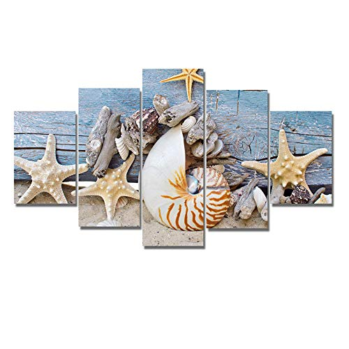 Pittura a olio astratta moderna della decorazione della casa pittura murale pittura murale pittura a cinque conchiglie stelle marine pittura decorativa senza cornice-20X35cmX2 20X45cmX2 20X55cmX1 se