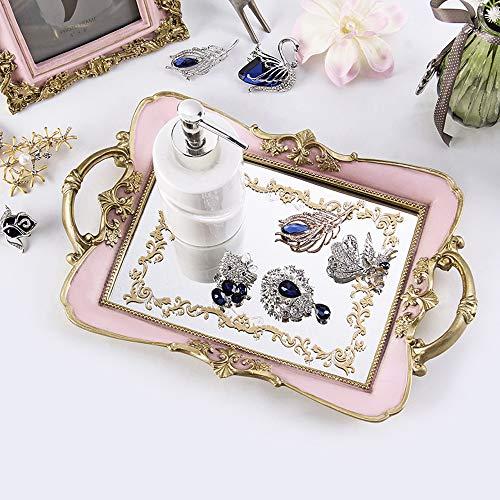 TOL MY Dekorative Ornamente Tablett, Spiegel Tablett Kosmetik Schmuck Desktop Storage Kreative Haushaltsgegenstände Handwerk Geschenk Ornamente