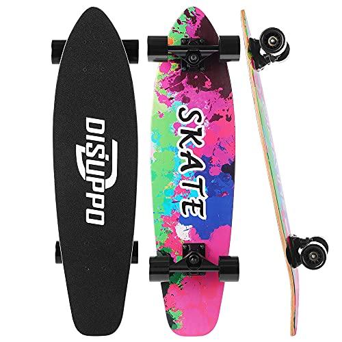 DISUPPO Cruiser Skateboards, Patinetas de 79 × 21 cm para Adultos, Niñas, Niños, Adolescentes, Principiantes, Cubierta de Arce Cóncava de 7 Capas, Ruedas de 60 * 45 mm y Patinetas de Aluminio