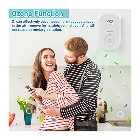 Air purifiers plug in for home, mini odor eliminator丨ozone negative ion dual function丨ionizer to remove smoke pet toilet… 4 🍃2-in-1 pluggable air purifier: cornmi air purifier has a built-in ozone and negative ion generator. Ozone has a strong oxidative decomposition ability, and negative ions can absorb dust. The combination of these two functions can effectively eliminate pet odor, secondhand smoke and kitchen oil fume, allowing you to enjoy natural fresh air at home. 🍃ozone deodorization function: the deodorizer can achieve the purpose of comprehensive and efficient cleaning by short-term releasing low-concentration o₃. O₃ has strong permeability, diffusibility and decomposition ability, which can effectively eliminate harmful substances and smells in the air. 🍃anion purification function: the air ionizer can produce anion, combine with the dust that are positive ions in the air and sink to the ground, avoiding the danger of inhaling floating objects. And achieve the removal of cigarette smoke, oil fumeand other particles matter. Effectivelyrefresh the air and improve the quality of sleep.