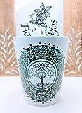 Taza de cerámica cónica con cucharilla y mandala árbol de la vida verde, taza de mandala, taza de mandala
