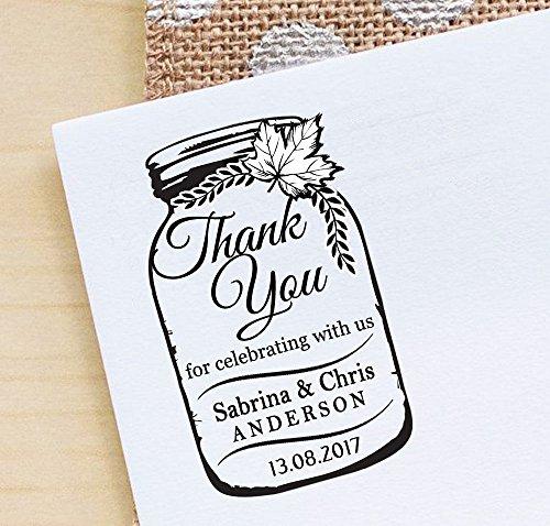 Kundenspezifische Hochzeits-Selbstfärbungs-Gummi-Stempel danken Ihnen Maurer-Glas-Briefmarken-Geschenk-Ideen