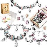 MAEKIJOY Charm pulsera Kit DIY, joyas Bastelset Niñas, regalo para niñas Teens 8 – 12 años, Teens Charm pulsera Personalisierte Geschenkset artesanos (3 cadenas de plata)