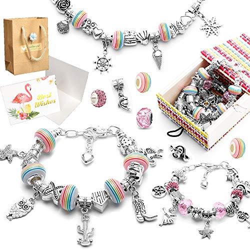 MAEKIJOY Charm Armband Kit DIY, Schmuck Bastelset Mädchen, Geschenk für Mädchen Teens 8-12 Jahre, Teens Charm Armband Personalisierte Geschenkset Handwerk(3 Silber Kette)