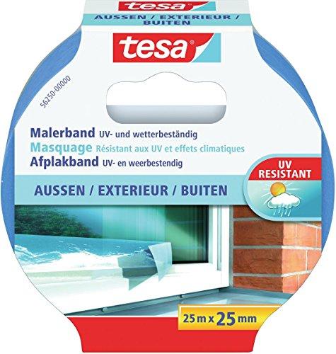 tesa Malerband AUSSEN – Dünnes Abdeckband für extrem präzises Abkleben bei Malerarbeiten im Outdoor-Bereich, UV- und wetterbeständig – 25 m x 25 mm