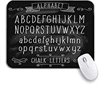 ECOMAOMI 可愛いマウスパッド アルファベットABC文字とチョークテキスト手英語ノンスリップゴムバッキングマウスパッドノートブックコンピューターマウスマット