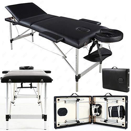 Hot Massage Table Spa Bed Portable plegable salón tatuaje terapia sofá aluminio, 3 secciones, Deluxe Multi ajustable reposacabezas, 2 Side Brazo soportes, w/Face Hole