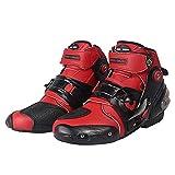 MYYU Dirtbike Botas de equitación para motocicleta, cómodas y anticolisiones, suela antideslizante, son ligeras y transpirables, rojas, 7.5 US/39 EU