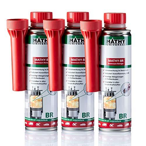 MATHY-BR Brennraumreiniger Benzin, 3 x 250 ml Dose - Benzin Additiv - Kolbenring Reiniger - geeignet für Downsizing-Motoren - Kraftstoffadditiv Benzin Motoren