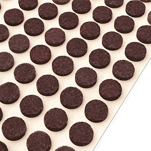 """Felt Furniture Pads Dark Brown – 3/8"""" (10mm) Diameter Small Self Adhesive Felt Bumpers for Kitchen Cabinet Doors, Drawers, Cupboards, Small Appliances – 160 PCs"""