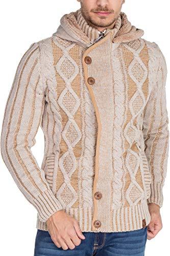 Cipo & Baxx Herren Grobstrickpullover Cardigan Strickjacke Kapuzenjacke Pullover Sweatshirt Beige S