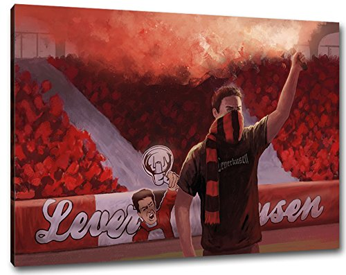 Ultras Leverkusen Format: 120x80, Bild auf Leinwand XL, fertig gerahmt