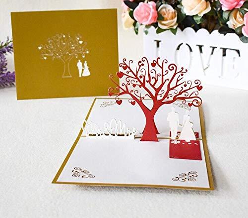 XNX Pop Up Cards, Verjaardag Handgemaakte 3D Pop up Verjaardagskaart voor Vrouwen Mannen Kinderen met Envelop Laser Cut Gift Cards (Birthday Cake met Kaars) Wishing Tree