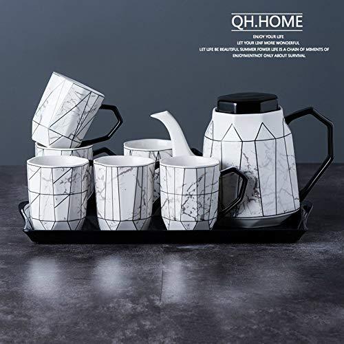 donfhfey827 Frisch und stilvoll Keramik Wassertopf Set Haushalt Kaltwassertopf Set Wohnzimmer Teekanne hitzebeständige große Teekanne