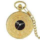 XQKQ Reloj de Bolsillo Reloj de Bolsillo de Cuarzo con exhibición de números Romanos clásicos con Cadena Colgante/Cadena de Collar Bienvenido, Cadena Colgante de Oro