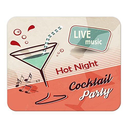 Gaming Mauspad mit Fotodruck Mousepad 220 x 180 mm Rutschfest Schwarz Fransenfreier Rand Präzision Plakat Motiv Cocktail Party bedruckt Küchenmotiv
