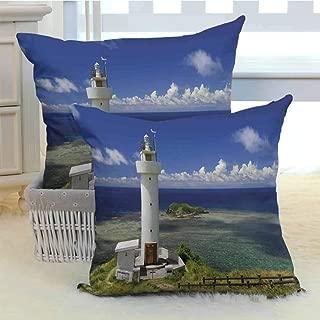 DuckBaby Lighthouse Decor Breathable Pillowcase Hiracbosaki Lighthouse Seaside Greenery Clouds Travel Destinations Scenery Cushion W16 x L16 inch x 2