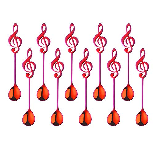 10 piezas Rojo Magico Símbolo Musical Cuchara de Café, Acero Inoxidable 18/10 Cucharadita Cuchara de La Torta Cuchara de Agitación