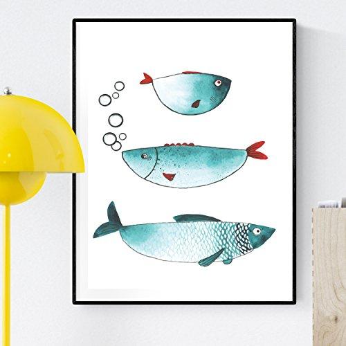 Nacnic Stampa Artistica Moderna, rappresentazione di 3 Pesci Azzurri. Poster con Pesci Tropicali. Mare, oceani e Natura. Arreda Il Tuo Soggiorno, o Immagini in Stampate su Carta da