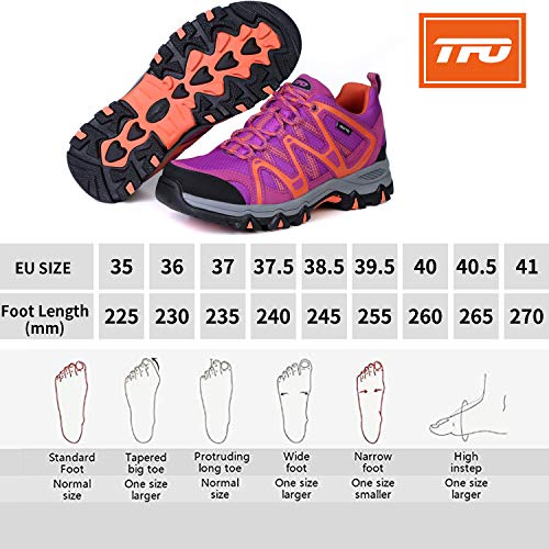 TFO Zapatillas de senderismo y trekking para mujer, transpirables, con suela amortiguada, color, talla 41 EU