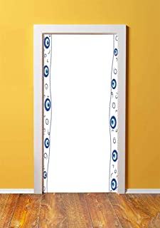 Evil Eye 3D Door Sticker Wall Decals Mural Wallpaper,Evil Eye Borders Spirals Swirls Good Luck Charm Traditional Decorative,DIY Art Home Decor Poster Decoration 30.3x78.8180,Blue Light Blue White