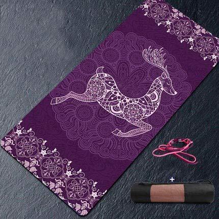 YUANDAKEJI Large Width Yoga Mat Natural Suede Non-Slip Bottom Fitness Gymnastics Dance Mat Pilates and Carpet Mat,183cmx68cmx6mm