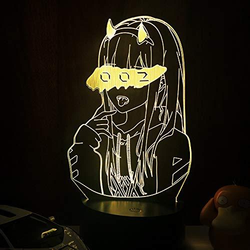 Luz de Noche de ilusión LED 3D Darling in The FRANXX Zero Two 002, decoración de Dormitorio Lámpara de Anime Iluminación LED(16 Color with Remote,DJ-ZZM-144)