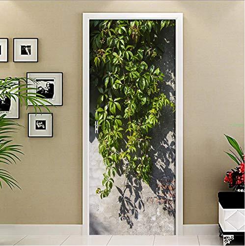 Papel Pintado Puerta PVC Moderno De La Pared Del Dormitorio De La Sala De Estar Del Azulejo De La Pared De La Hoja Verde 3D Autoadhesivo Door Sticker Wallpaper Poster 77 X 200 cm